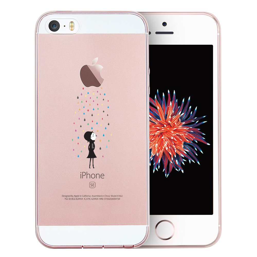 ESR iPhone SE/5S/5 Case, Ultra Thin Soft Gel TPU Silicone Case Cover with Cute Cartoon for iPhone SE/5S/5 (Rainbow)