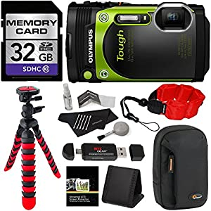 Olympus TG-870 Tough Waterproof Digital Camera (Green) + 32GB Class 10 + Memory Card Reader + 12