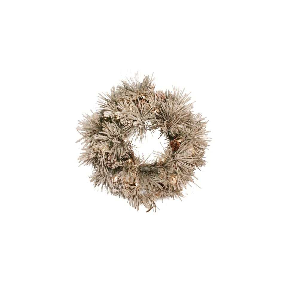 Good Tidings 4755628 Snowdrift Artificial Prelit Christmas Wreath 24 Inches in Diameter with Long Needles, Flocking and 50 Clear