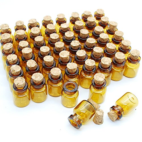 50pcs 0.6ml Dark Brown Cute Strong Miniature Glass Bottle with Corks Tiny Glass Bottles Small Bottles Great for Jewelry Making Altered Art, Miniature Art, Etc.