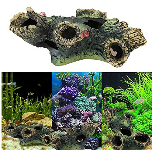 New Stump Rockery Fish Tank Ornament Aquarium Hiding Cave Underwater D?cor Set26