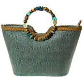 Aqua Beaded Handle Bag