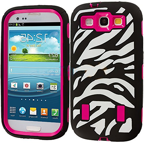Mylife Black And Rose Pink - Zebra Stripes Armor Series (Durable Built In Screen Protector + Urban Body Armor Glove) Case For Samsung Galaxy S3 Gt-I9300 And Gt-I9305 Touch Phone (Thick Silicone Outer Gel + Tough Rubberized Internal Shell)
