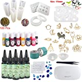 Frenshion 5 Pieces 30ML Crystal Epoxy Resin UV Glue, 1 Lamp Tweezer 14Pcs Transparant Silicone Mould 100 Rings 13 Color Liquid Pigment 17 Metal Jewelry with 2X 5 Meters Tape For DIY Design (Tamaño: 5UVDJ+14mold+Pigment+Metal+Lamp)