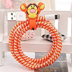 Tospania DIY Cartoon Style Spiral Wire Protectors for Apple Lightning Cables/Samsung and other Tablet Charging Cables/ Earphone Cords and More (Tigger)