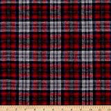 Yarn Dyed Flannel Plaid Red Gray Fabric By The Yard