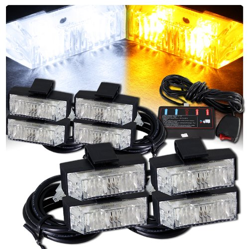 Low Profile Led Grille Clip On Mounting Emergency Strobe Lights - White & Amber