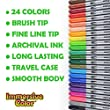 Dual Tip Brush Pens with Fineliner Tip (24 PACK, No Duplicates!) Paint Brush Markers Ink Tip and 0.4mm Fine line tip on the other side. Perfect for Artists, Watercolor, Sketching, Coloring, and More! from Immersive Color
