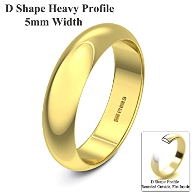 Xzara Jewellery - 18ct Yellow 5mm Extra Heavy D Shape Hallmarked Ladies/Gents 6.6 Grams Wedding Ring Band