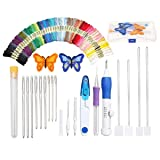 Embroidery Kit, Magic DIY Embroidery Pen Punch Needle Sets Sewing Tool Kit with 50 Color Threads, 2 Butterfly Embroidered Patterns, Storage Case for Beginner