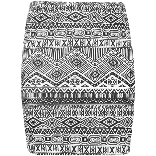 NEW WOMENS LADIES SHORT MINI BODYCON JERSEY STRETCH OFFICE PENCIL SKIRT SZ 8-14[Black/White Aztec,M/L]