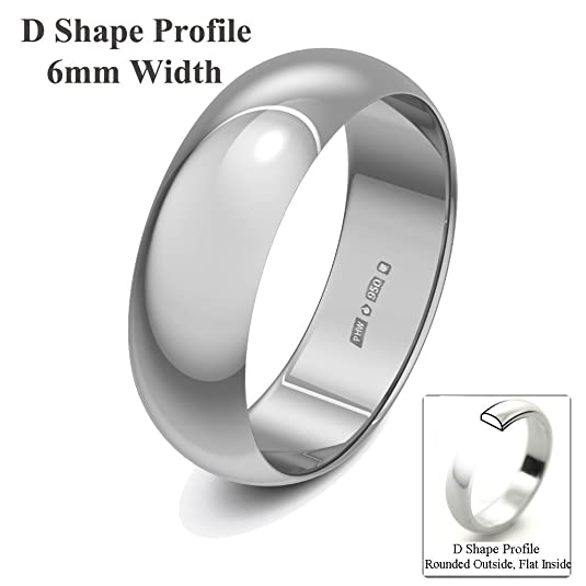 Xzara Jewellery - Palladium 500 6mm D Shape Hallmarked Ladies/Gents 4.1 Grams Wedding Ring Band
