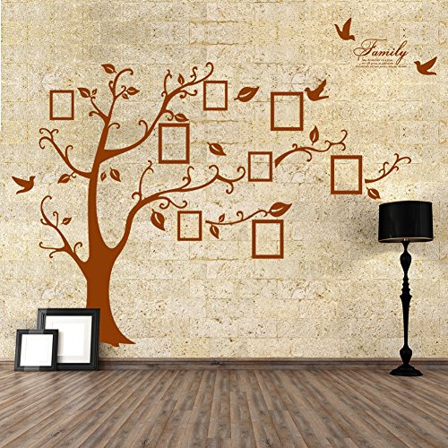Rainbow Fox Photo frame tree wall stickers Removable Wall Decor Decal Stickers for livingroom/gallery/family/office/study rooms d¨¦cor (Brown Decal Wall Stickers compare prices)