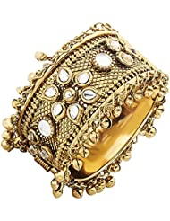 The Jewelbox Flower Traditional Antique Openable Free Size Cuff Kada Bangle Bracelet For Women