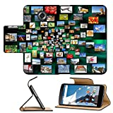 Luxlady Premium Motorola Google Nexus 6 Flip Pu Leather Wallet Case IMAGE ID: 34334746 Lots of a variety photos in perspective on green background