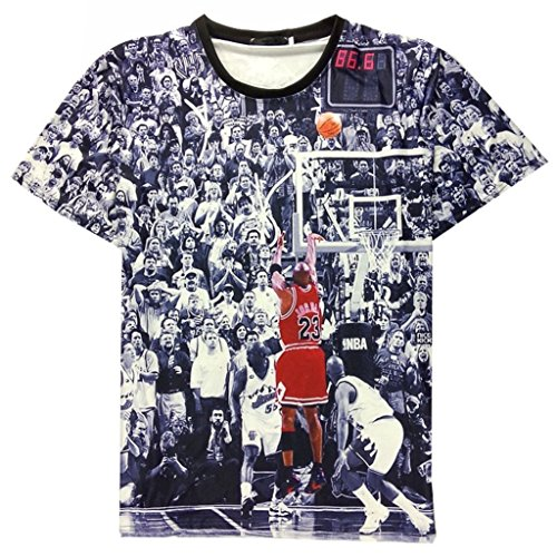 ThumbLike 2015 Unisex 3d Print Tees Casual T Shirt Jordan Last Shot (US S /Asian M)