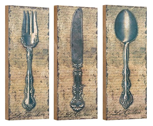 Vintage Silverware Fork Knife Spoon Wall Décor or Shelf 10 Inch Blocks Set of 3