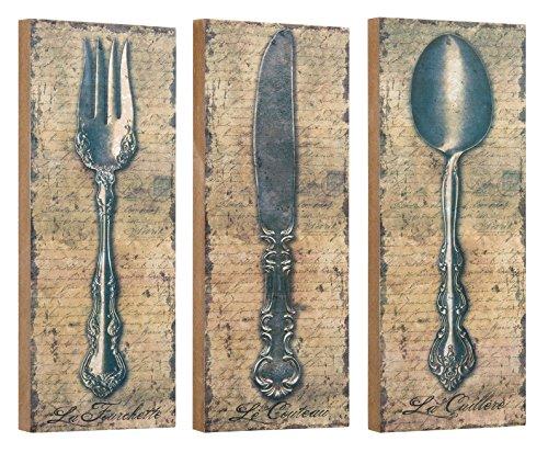 Vintage Silverware Fork Knife Spoon Wall Décor or Shelf 10 Inch Blocks Set of 3