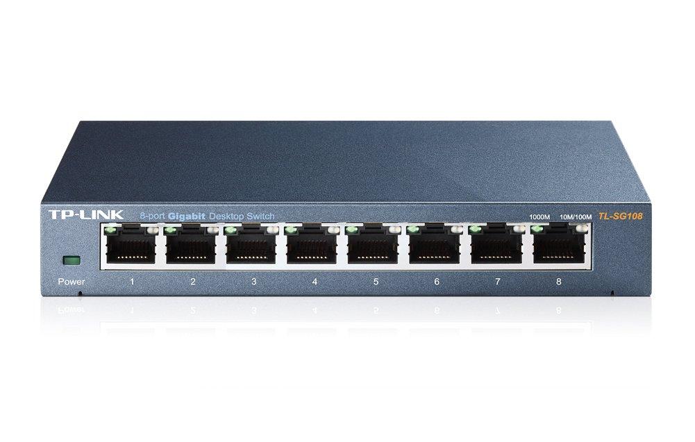 TP-LINK TL-SG108 8-Port 10/100/1000Mbps Desktop Gigabit Steel Cased Switch, IEEE 802.1p QoS, Up to 72% Power Saving