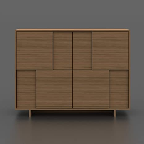 "Argo Furniture Timber Contemporary Veneer MDF Buffet/Sideboard, 47.25"" Width x 15.5"" Depth x 35.5"" Height, Light Birch"