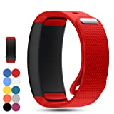 Feskio Samsung Gear Fit 2 Pro/Fit 2 SM-R360 Replacement Watch Band Strap Accessory Soft Silicone Wristband Strap Sport Band Bracelet for Samsung Gear Fit 2 Pro/SM-R360 Smartwatch (Color: Red, Tamaño: Large)