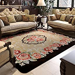 Wolala Home Luxury Super Cozy Rose Floral Ornament Rectangle Livingroom Carpet Washable Non-slip Rug Bedroom Carpet Solid Home Decorator Floor Rug Baby Crawling Mats(5\'0x6\'6) (1)