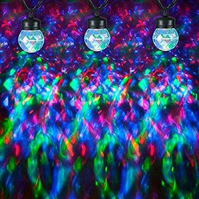 Gemmy Christmas Lightshow 8 Kaleidoscope Projection String Light Bulbs Multi Color W/clips
