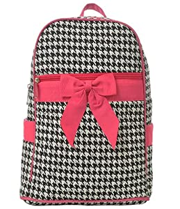 Quilted Houndstooth Print Zippered Backpack *Fuchsia