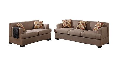 Poundex Bobkona Baldwin Blended Linen 2-Piece Sofa and Loveseat Set, Stone