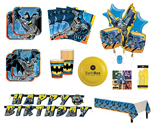 BashBox Batman Birthday Party Supplies Pack for 8 Guests Including Plates, Cups, Napkins, Table Cover, Balloon Bouquet, Cutlery & More