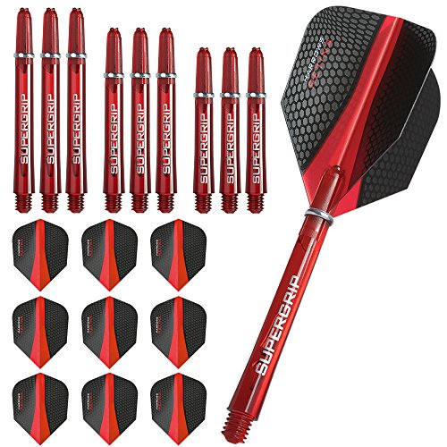 Harrows, Retina - 3 confezioni di alette e steli per freccette, 3 set (9 pezzi) di alette e 3 pezzi di steli supergrip, colore: rosso