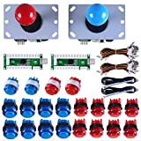 Gamelec 2-Player Arcade Buttons and Joysctick Controller Kit for PC Games and Raspberry Pi with Zero Delay USB Encoder,8 Way Joystick and LED Illuminated Buttons for Mame Jamma (Red&Blue)