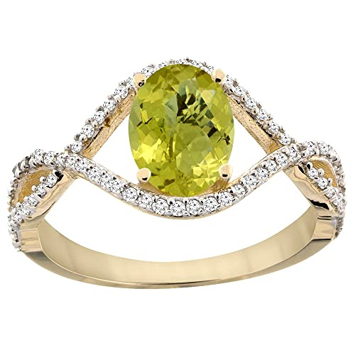 14ct Yellow Gold Natural Lemon Quartz Ring Oval 8x6 mm Infinity Diamond Accents, sizes J - T