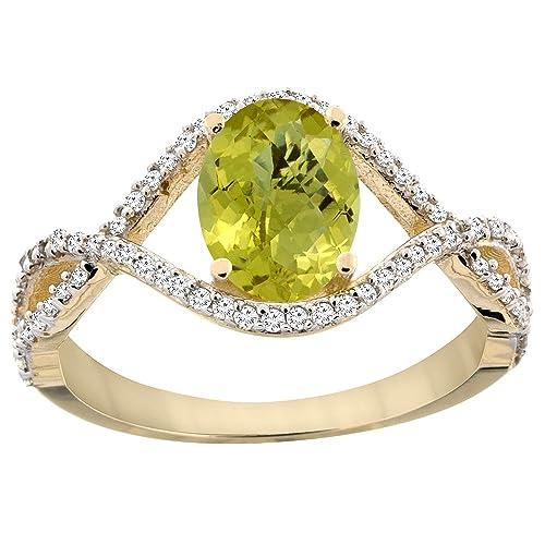 14ct Yellow Gold Natural Lemon Quartz Ring Oval 8x6 mm Infinity Diamond Accents, sizes J - T