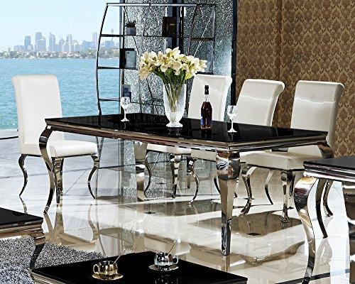 Esstisch-200-x-100-x-76-Lara-schwarz-Esszimmer-designer-luxus-Tisch-Bro-Edelstahl-Glas-Barock-Chrom-schwarzglas