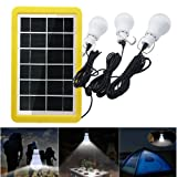 Solar Portable Smart Light Control Bulb Solar Panel Lamp USB Powered Rechargeable Lantern Lamps for Home Shed Barn Indoor Outdoor Emergency Hiking Tent Reading Camping (3 Bulbs with Light-Operated) (Color: 3 Bulbs With Light-operated)