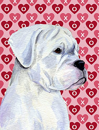 Boxer Hearts Love And Valentine'S Day Portrait Flag Garden Size From Caroline'S Treasures
