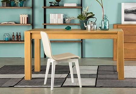 Table cuisine séjour rectangulaire en frêne extensible de 160cm