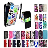 FOR SAMSUNG GALAXY S4 MINI I9190 NEW ARRIVAL PREMIUM QUALITY PU LEATHER MAGNETIC FLIP CASE COVER POUCH + SCREEN PROTECTOR +STYLUS (Multi Dog Cat Paw Foot Card Pocket)