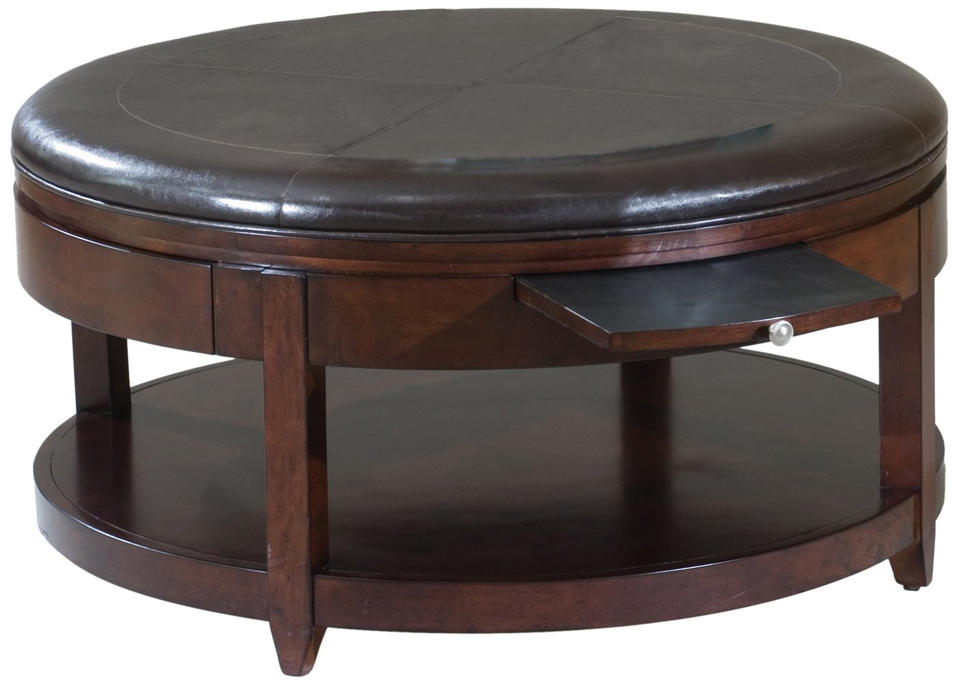 Large round tufted leather ottomans with storage olivia 39 s place Round coffee tables