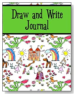 Draw and Write Journal For Kids - Both boys and girls will enjoy the green banner and the storyland scene on the cover of this draw and write journal for younger kids.