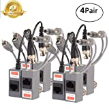 Video Balun,Passive BNC Audio Power Transmitter/Transceiver Connectors Adapter with RJ45 Terminal Via CAT5/5E/6 Twisted-Pair Cable for HD-CVI-TVI/AHD 720P-1080P CCTV Security Camera System 4Pairs/8PCS (Color: 2)