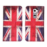 W-RainBow Retro Vintage UK United Kingdom Union Jack Flag Flip Leather Wallet Card Holder Pouch Stand Case Cover For LG G2