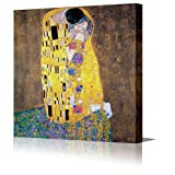 GUSTAV KLIMT: THE KISS (COMES WITH MATCHING KISS MOUSE MAT) Large Canvas Print Professionally Gallery Framed Canvas Fine Art Poster Print Ready To Hang Modern Art Framed Over Stretcher Barsby Gustav Klimt