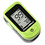 ChoiceMMed Light Green Finger Pulse Oximeter - Blood Oxygen Saturation Monitor - SPO2 Pulse Oximeter - Portable Oxygen Sensor Included Batteries - O2 Saturation Monitor Carry Pouch (Color: green)