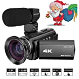 Video Camera 4K Camcorder MELCAM Ultra HD 48.0MP 60FPS 3.0 inch 270 Degree Touch Screen, YouTube Vlogging Camera External Microphone and Wide Angle Lens, WiFi Function, Time-lapse, Night Vision (Color: Black, Tamaño: Black)