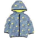 ジャンパー ベビー 赤ちゃん 男の子 フード付 リバーシブル 裏シープボア 中綿コート ブルー-ライム 90cm