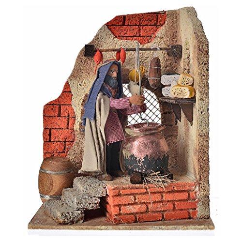 Animated Neapolitan nativity figurine, polenta maker 10cm (Polenta Machine compare prices)