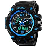 Gosasa Big Dial Digital Watch S Shock Men Military Army Watch Water Resistant LED Sports Watches (Blue)