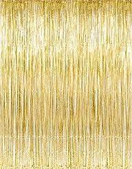 Metallic Gold Foil Fringe Curtains (1…
